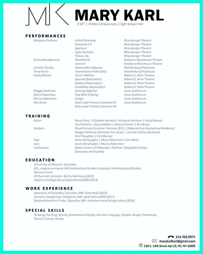 the best and impressive dance resume examples collections careers sample casting call Resume Walgreens Cashier Job Description Resume