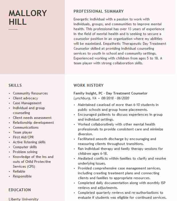 therapeutic treatment counselor resume example qmhp global interventions llc district of Resume Residential Counselor Resume