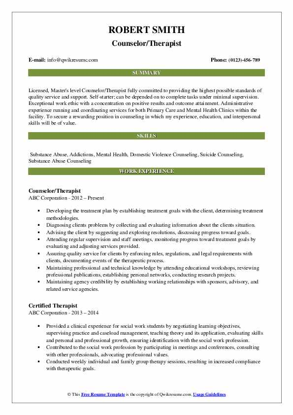 therapist resume samples qwikresume mental health pdf telemetry nurse job description for Resume Residential Counselor Resume