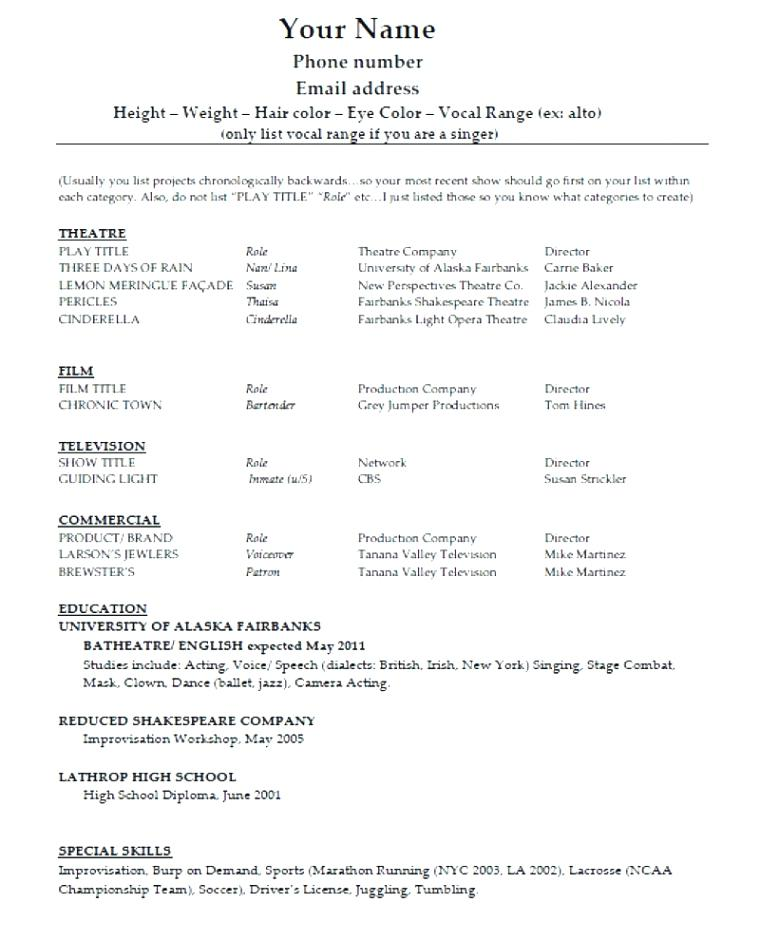 to make theatre resume free templates technical template musical theater word acting with Resume Technical Theatre Resume Template