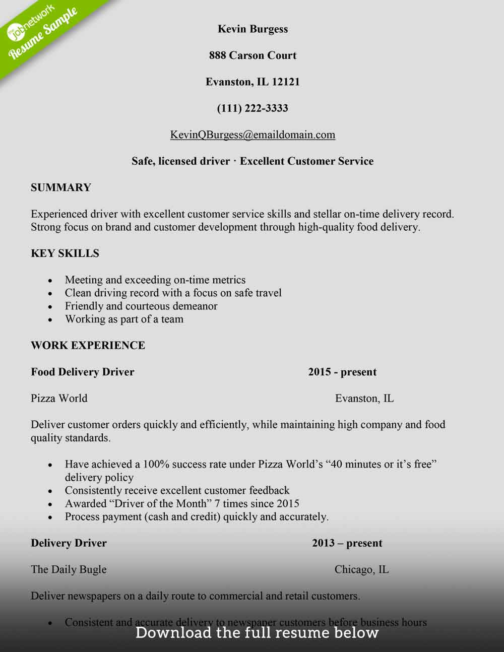 to write delivery driver resume with examples the jobnetwork food service sample for Resume Food Delivery Driver Resume
