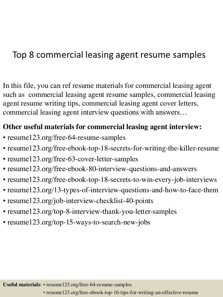 top commercial leasing agent resume samples sample Resume Leasing Agent Resume Sample