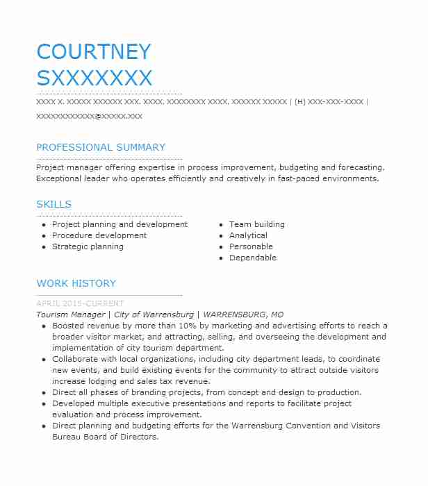 tourism manager resume example livecareer sample objective for students loi ore import Resume Sample Resume Objective For Tourism Students