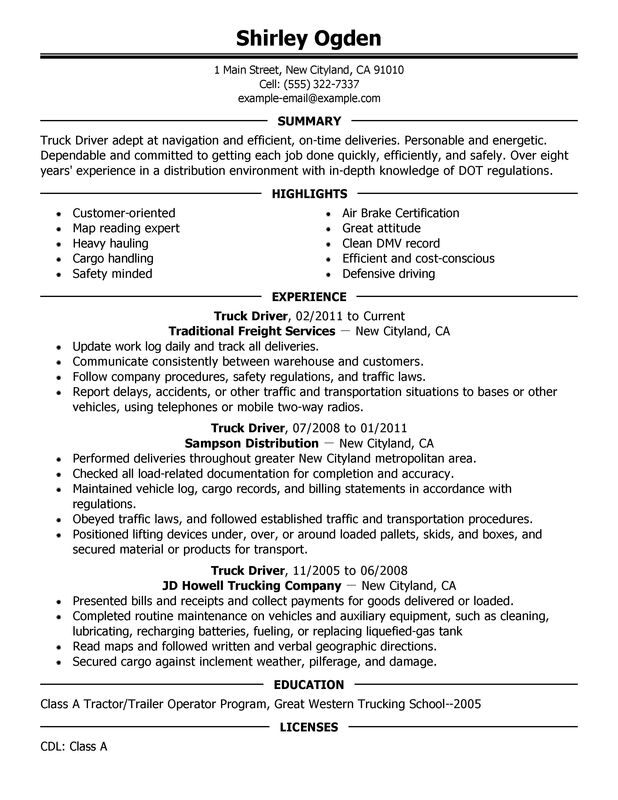 truck driver resume examples created by pros myperfectresume job description for Resume Truck Driver Job Description For Resume