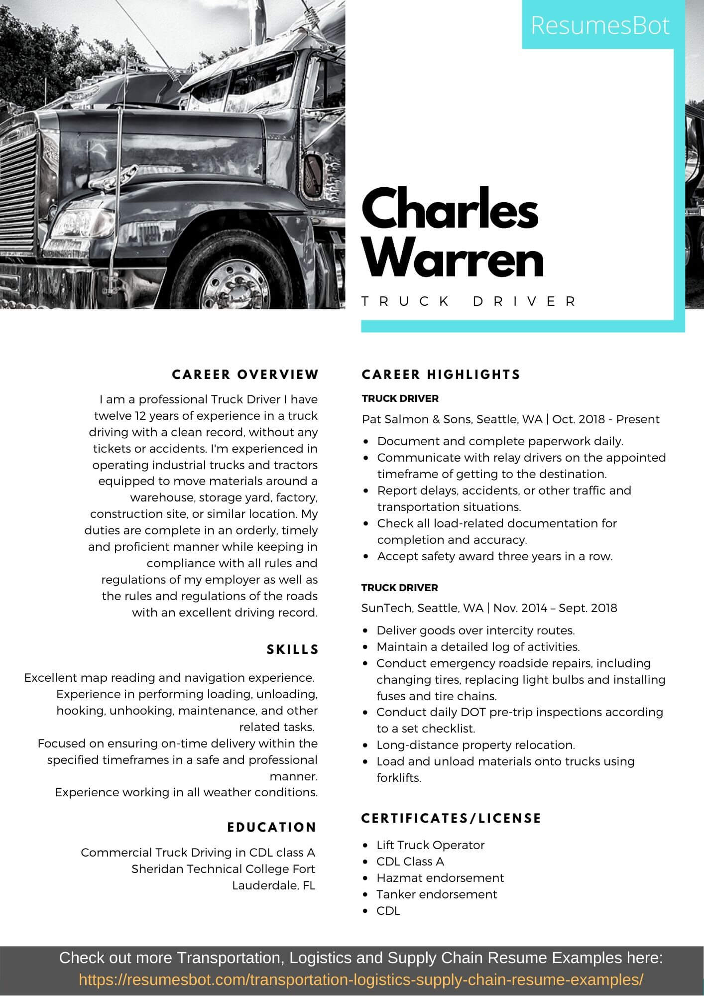 truck driver resume samples and tips pdf resumes bot sample example foreman cal poly Resume Truck Driver Resume Sample