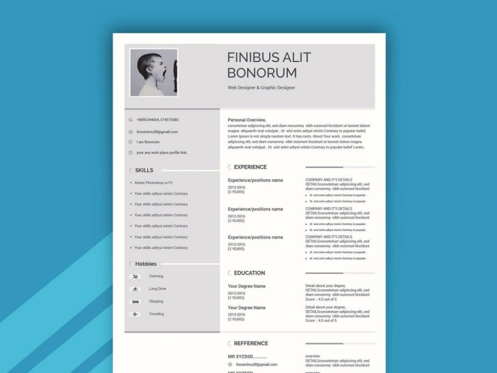 two column simple resume template with cover letter daily mockup free file 1024x768 Resume Two Column Resume Template