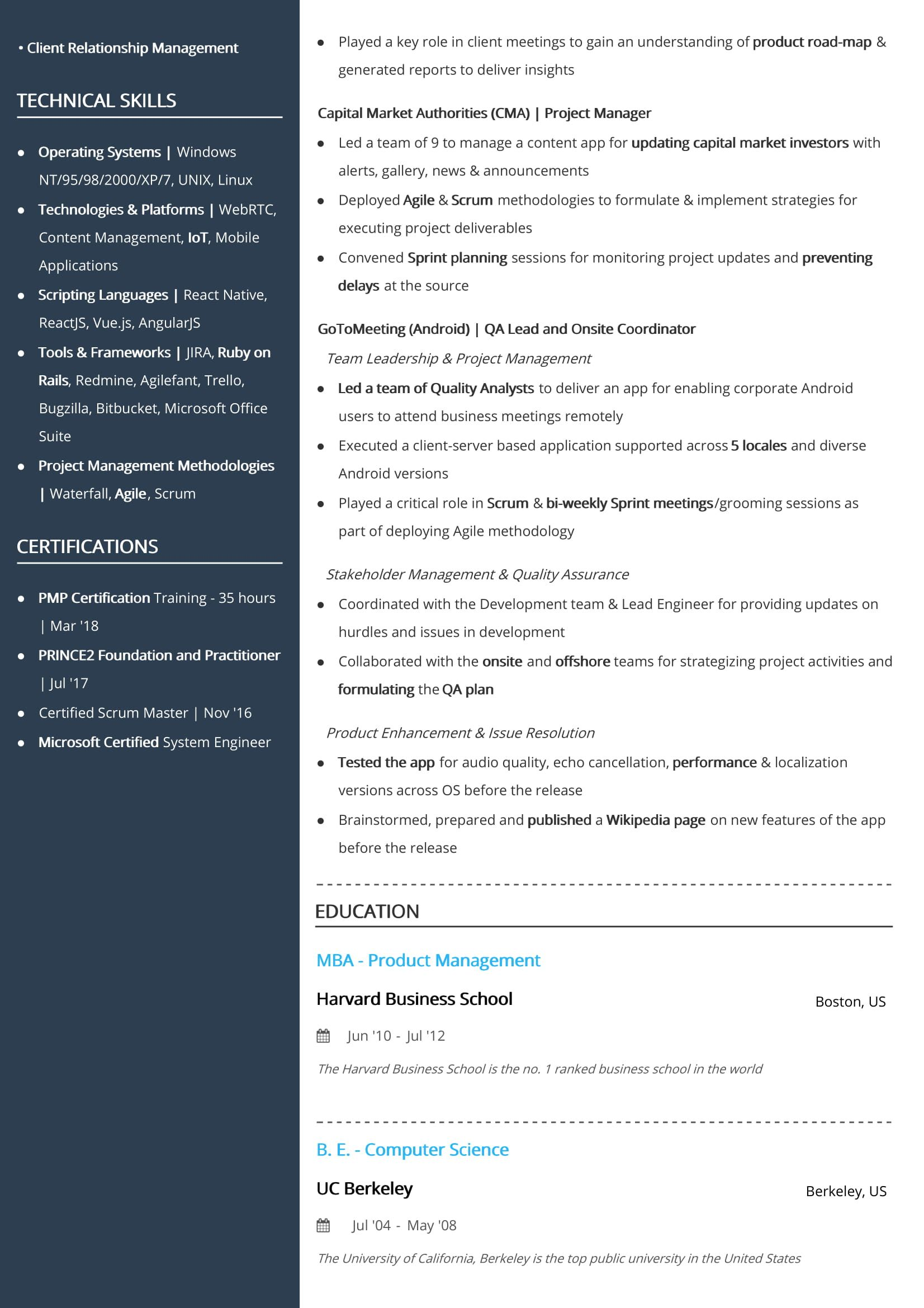 two resume format examples guide best ellaria sand senior product manager professional Resume Best Two Page Resume Format
