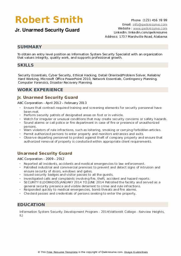 unarmed security guard resume samples qwikresume pdf military template microsoft word Resume Unarmed Security Guard Resume