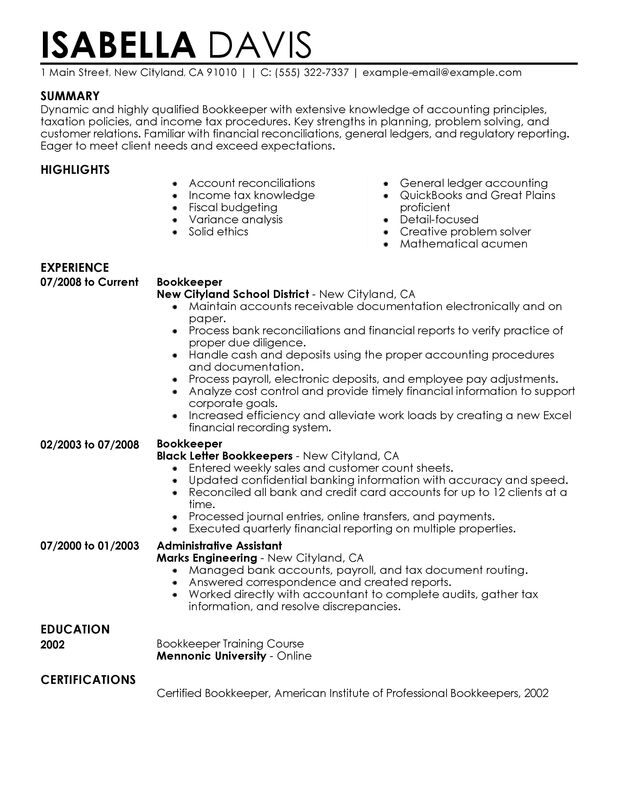unforgettable bookkeeper resume examples to stand out myperfectresume experienced Resume Experienced Bookkeeper Resume