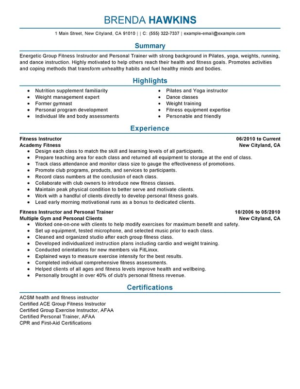 unforgettable fitness and personal trainer resume examples to stand out myperfectresume Resume Resume Objective For Gym Job