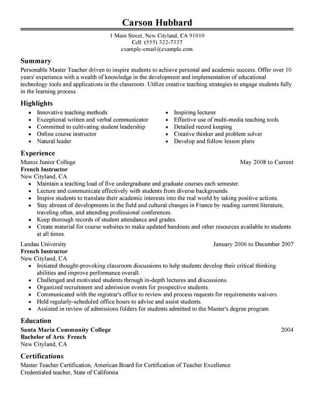 unforgettable master teacher resume examples to stand out myperfectresume for masters Resume Resume For Masters Program