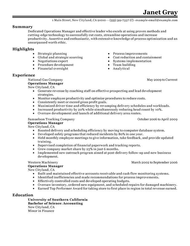 unforgettable operations manager resume examples to stand out myperfectresume summary for Resume Resume Summary For Management Position