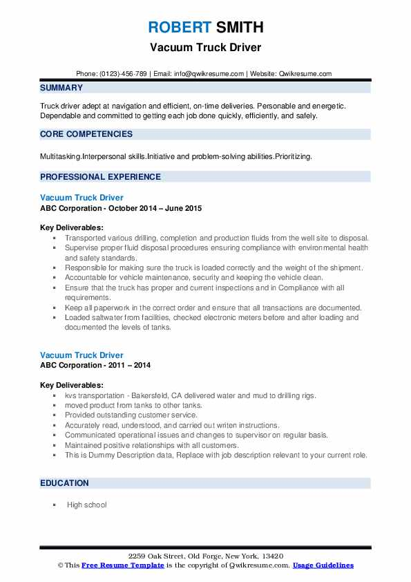 vacuum truck driver resume samples qwikresume job description for pdf synonym experience Resume Truck Driver Job Description For Resume