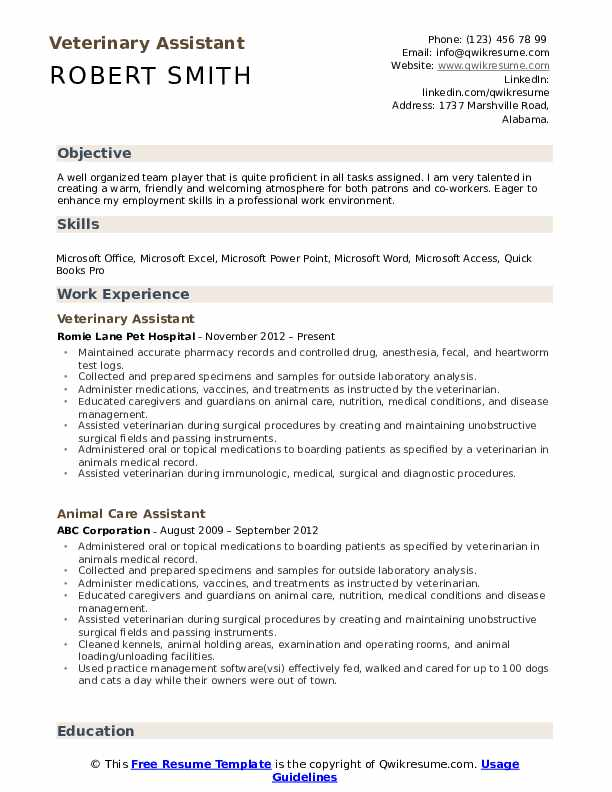 veterinary assistant resume samples qwikresume pdf rehab nurse job description for nancy Resume Veterinary Assistant Resume