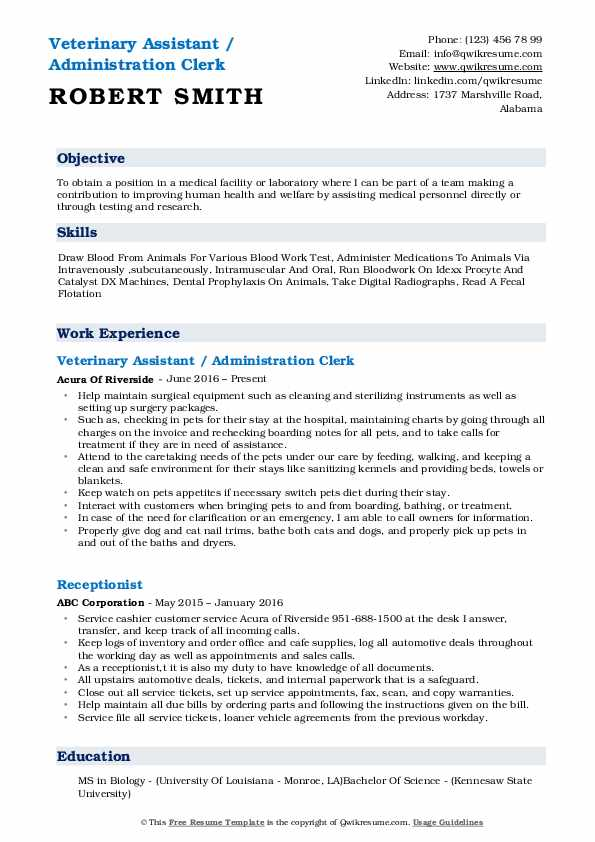 veterinary assistant resume samples qwikresume pdf software engineer indeed free program Resume Veterinary Assistant Resume