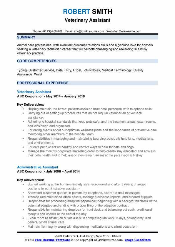 veterinary assistant resume samples qwikresume pdf writing for government positions Resume Veterinary Assistant Resume