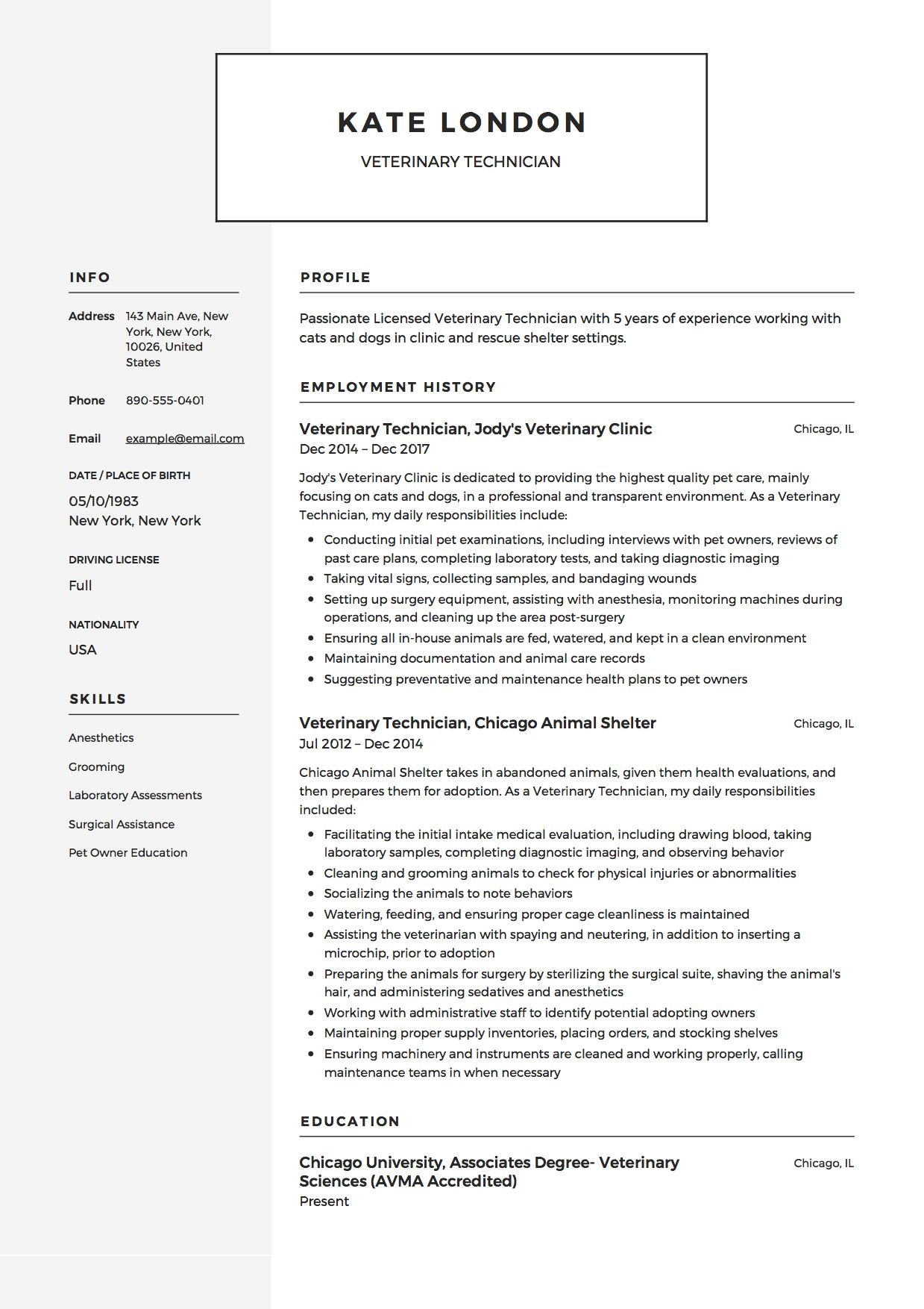 veterinary technician resume example vet tech student skills assistant conclusion sample Resume Veterinary Assistant Resume