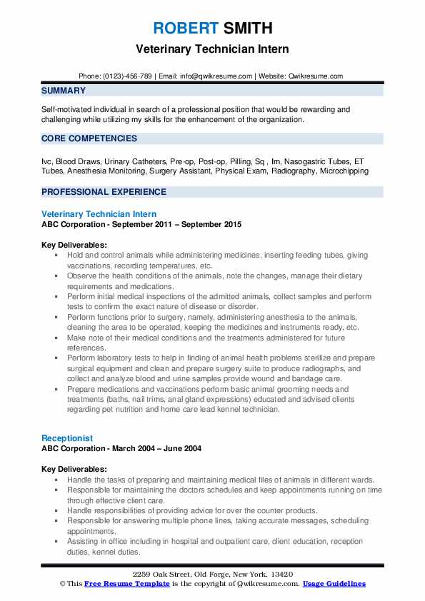 veterinary technician resume samples qwikresume vet tech examples pdf labor and delivery Resume Vet Tech Resume Examples