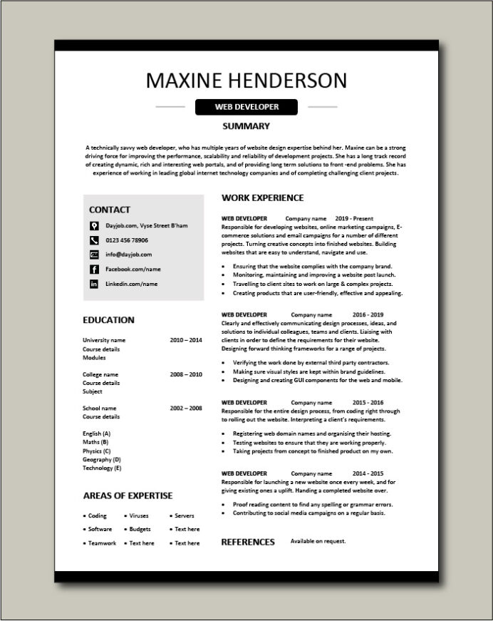 web developer resume example cv designer template development jobs website internet Resume Web Developer Resume Examples