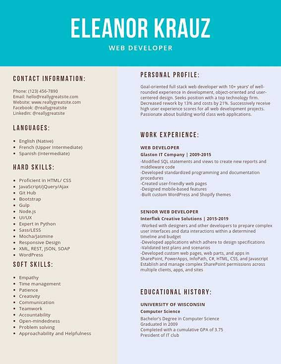 web developer resume samples and tips pdf templates resumes bot examples sample types of Resume Web Developer Resume Examples