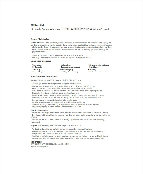 welder resume template free word pdf documents premium templates sample for position Resume Sample Resume For Welder Position