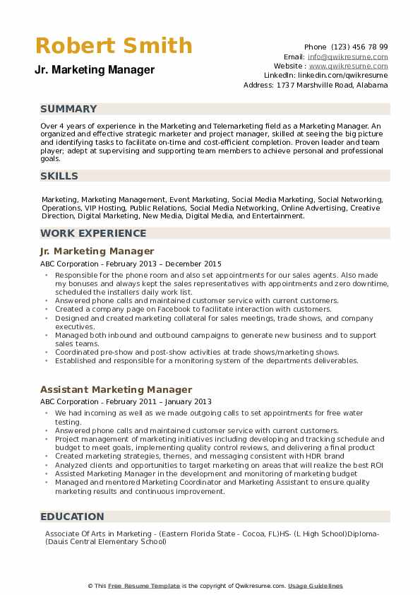 with marketing manager resume format description for biodata job printable cyber security Resume Marketing Manager Description For Resume