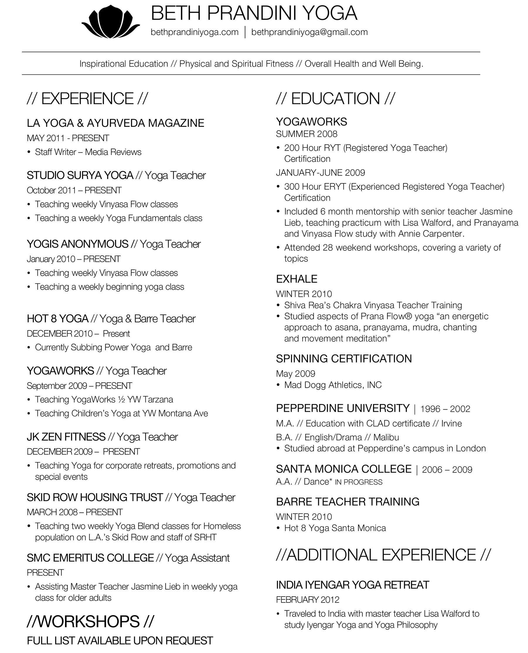 yoga resume example teacher examples new parser using nlp lille nantes free readymade Resume New Yoga Teacher Resume Example