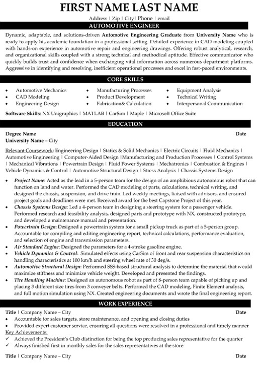 automotive engineer resume sample template automobile production supervisor examples Resume Automobile Engineer Resume