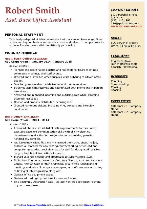 back office assistant resume samples qwikresume format for executive pdf basic Resume Resume Format For Back Office Executive