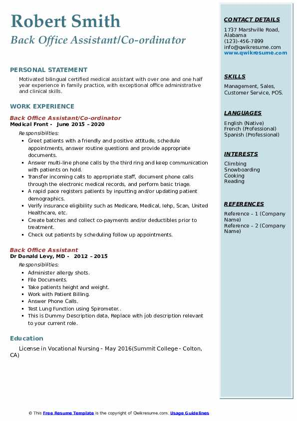 back office assistant resume samples qwikresume format for executive pdf hobbies that Resume Resume Format For Back Office Executive