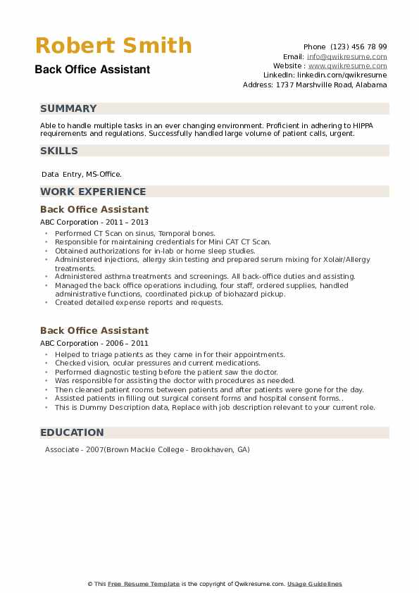 back office assistant resume samples qwikresume format for executive pdf most common font Resume Resume Format For Back Office Executive