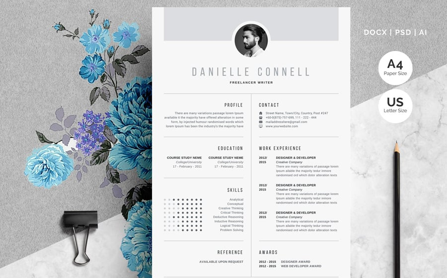 best free printable resume templates modern danielle connell creative template kijiji Resume Free Modern Resume Templates 2020