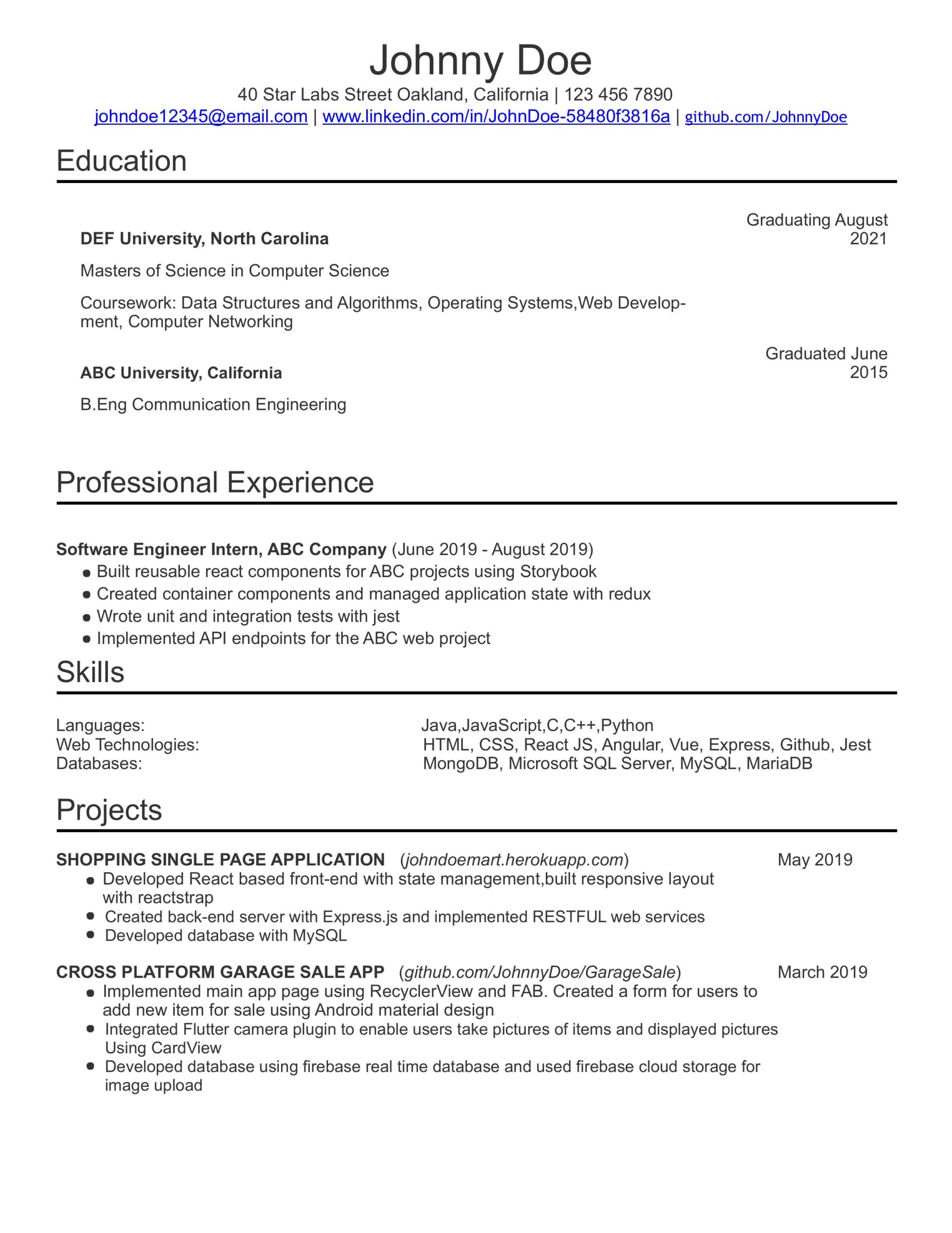 building an entry level software engineer resume medium engineering Resume Entry Level Engineering Resume