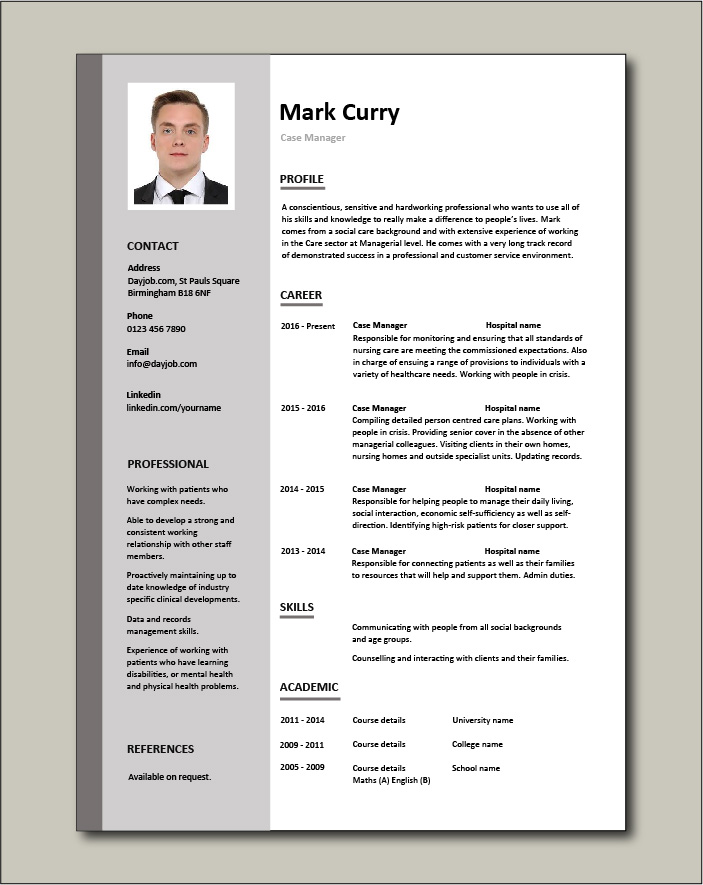 case manager resume template sample example job description cv social care patients carer Resume Case Management Resume Samples