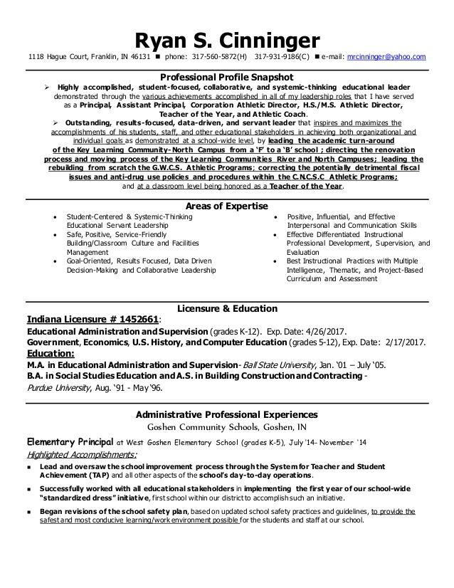 cinningeradminstrative resume june2015 with reference contact info information cyber Resume Resume Contact Information