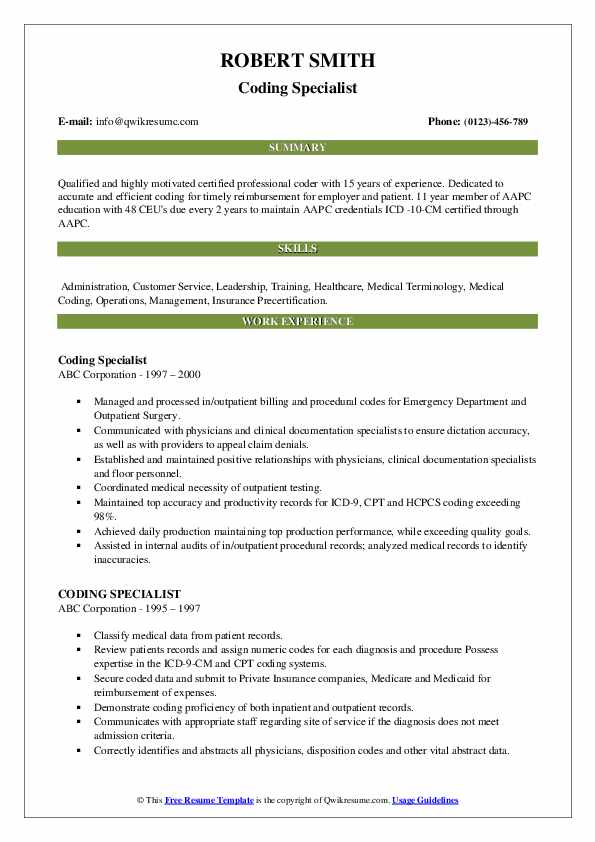 coding specialist resume samples qwikresume sample for medical pdf limousine driver Resume Sample Resume For Medical Coding Specialist