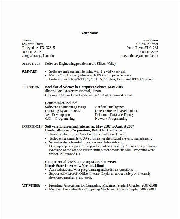 computer science internship resume fresh puter templates pdf internships examples Resume Computer Science Graduate Resume Sample