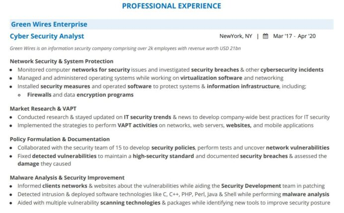 cyber security analyst resume guide with examples summary for professional experience Resume Security Summary For Resume