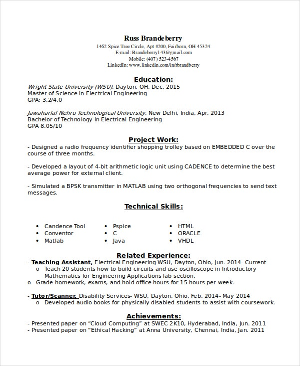 entry level resume examples pdf free premium templates engineering for electrical Resume Entry Level Engineering Resume