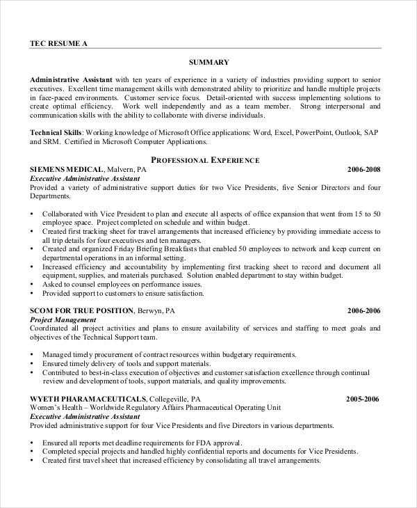 executive assistant resume free word pdf documents premium templates experienced Resume Experienced Executive Assistant Resume