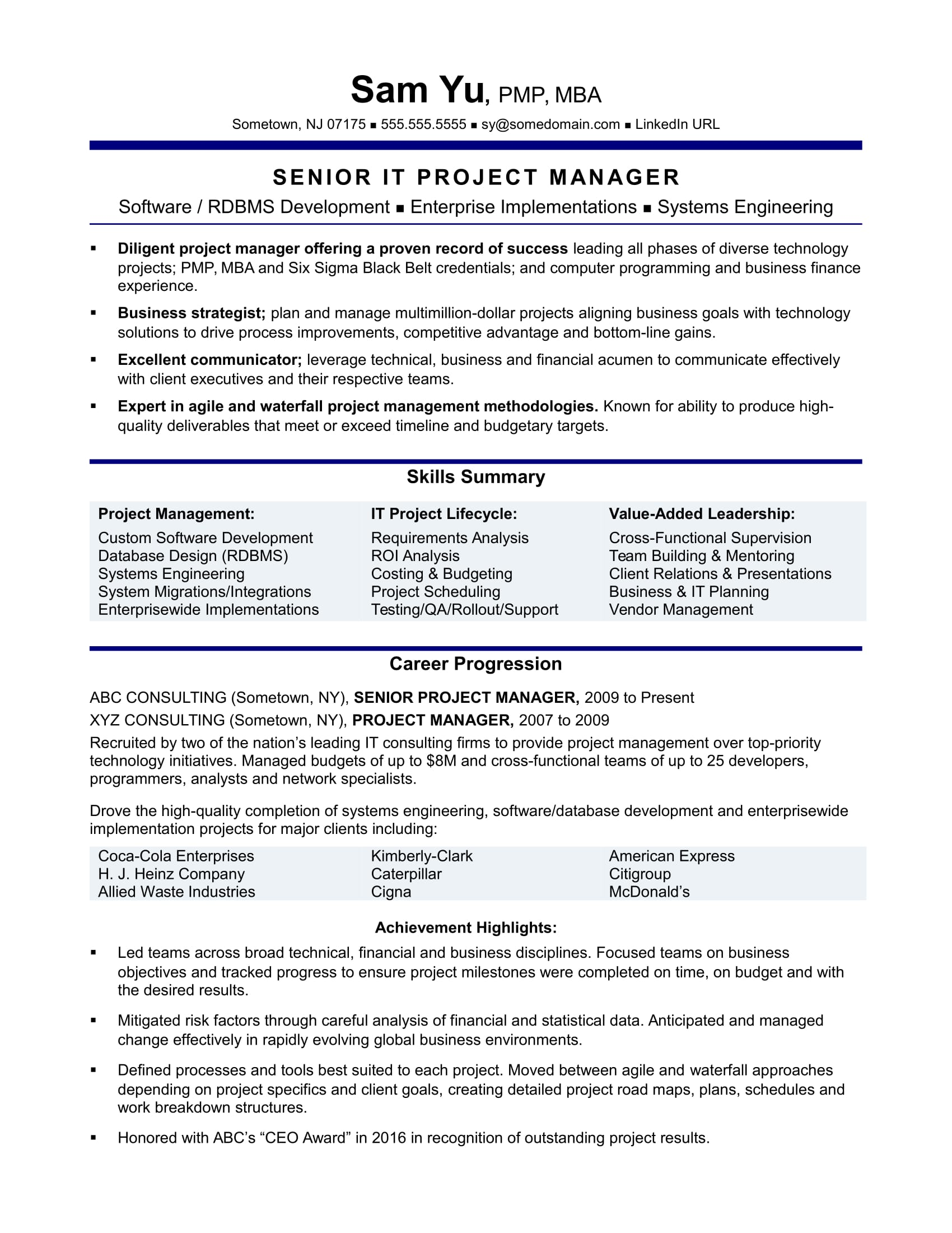 experienced it project manager resume sample monster school projects on optimize your Resume School Projects On Resume
