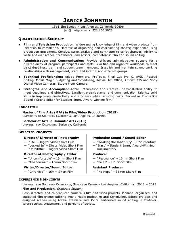 film production resume sample monster school projects on student sound technician Resume School Projects On Resume