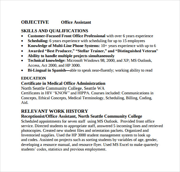 free sample office assistant resume templates in pdf ms word format for back executive Resume Resume Format For Back Office Executive