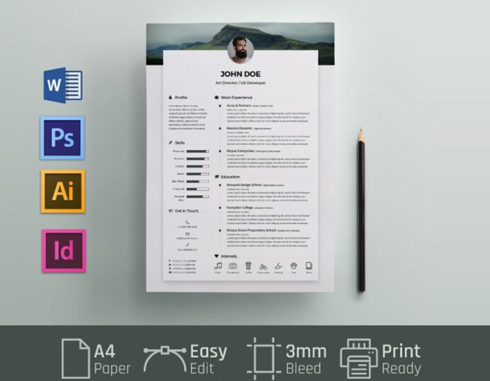 free simple resume cv template in and word format maxresumes ms 900x700 art instructor Resume Resume Template 2020 Word Free