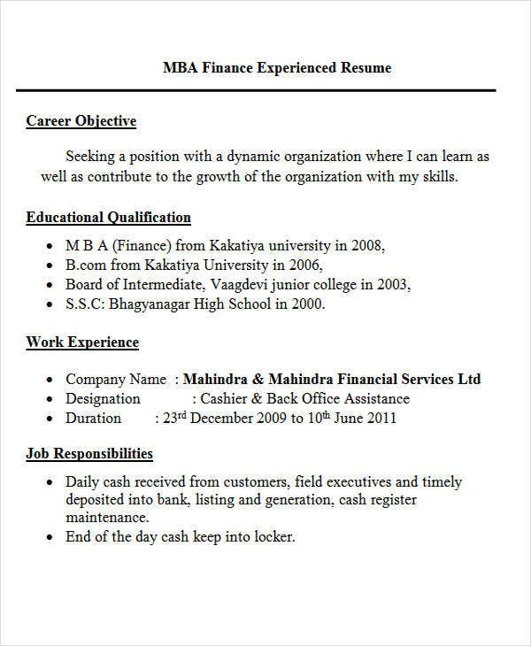 fresher resume templates pdf free premium format for back office executive mba finance Resume Resume Format For Back Office Executive