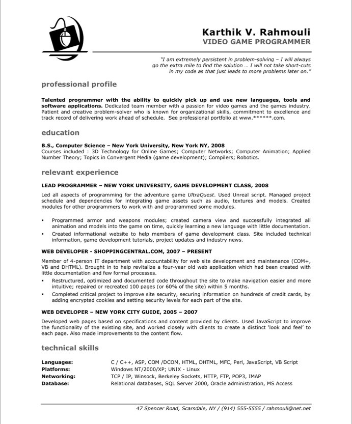 game programmer free resume samples blue sky resumes school projects on after Resume School Projects On Resume