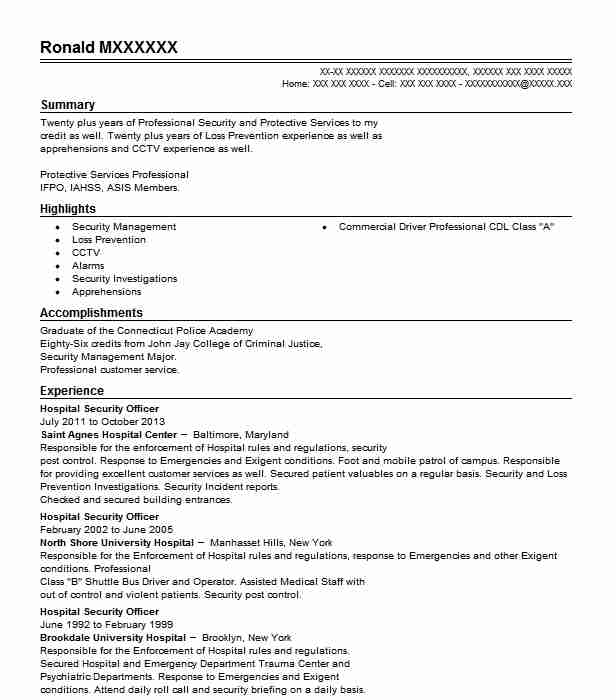 hospital security officer resume example resumes livecareer summary for workamper Resume Security Summary For Resume