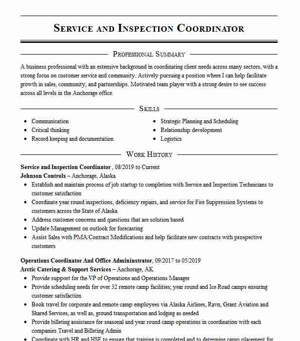inspection coordinator resume example company name federal sample objective examples for Resume Inspection Coordinator Resume