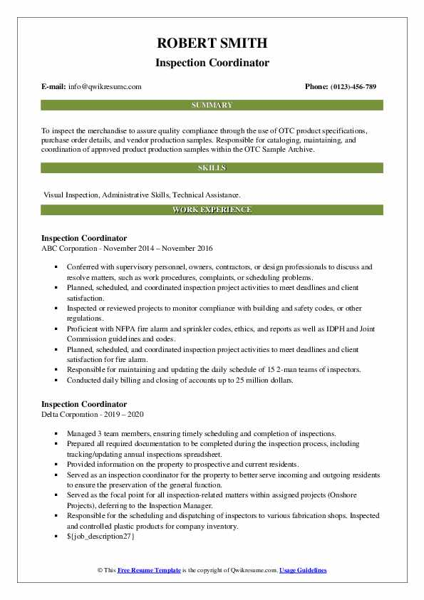 inspection coordinator resume samples qwikresume pdf objective examples for recent Resume Inspection Coordinator Resume