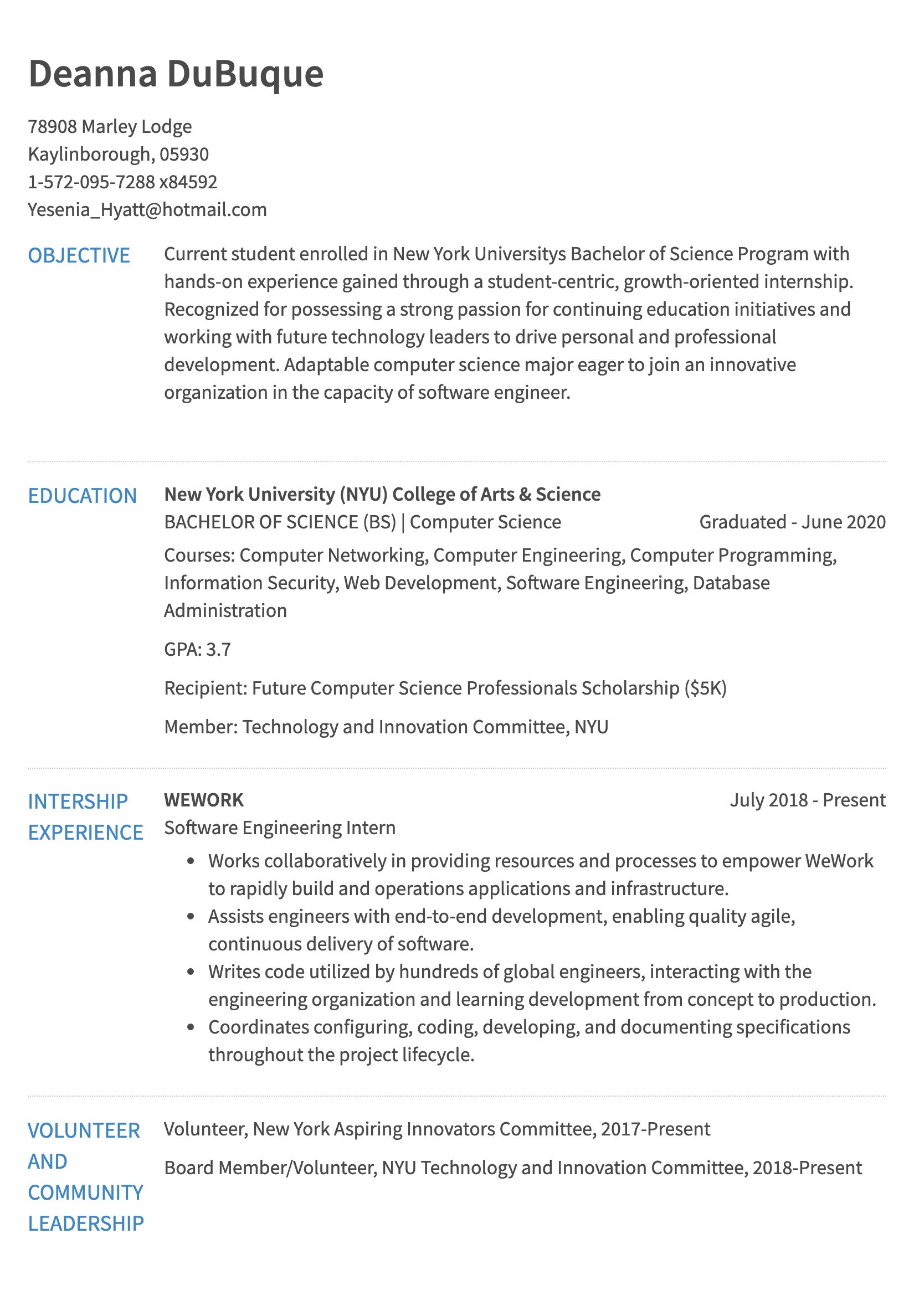 internship resume example computer science graduate sample years of exp courier skills Resume Computer Science Graduate Resume Sample